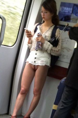 In the Tokyo subway with no clothes on