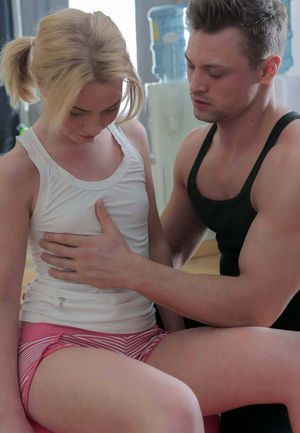 Blonde girl starts seducing her coach..