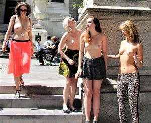 Topless girls in public, sexy chicks..